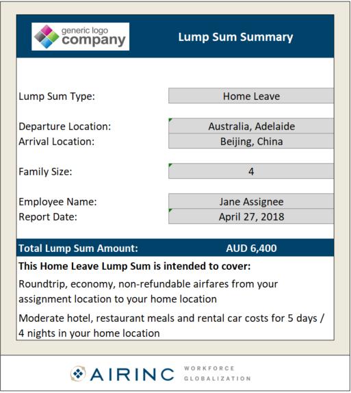 Sample of AIRINC Lump Sum Calculator Report