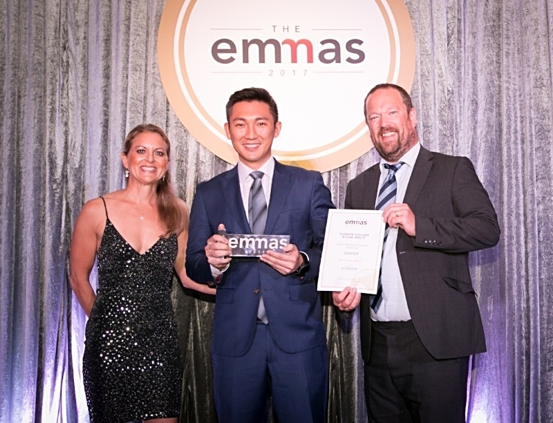 FEM Global Mobility Professional of the Year: Jason Tang from AIRINC. Photo (left to right): Sally Martin (FEM), Jason Tang (AIRINC), and Tim Wells (Equus).