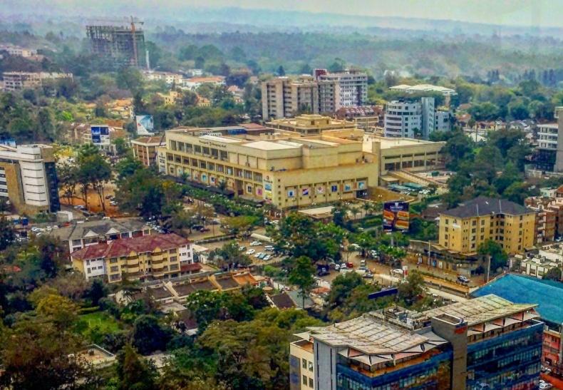 Aerial view of the Westgate Mall in Nairobi, Kenya. Photo taken by AIRINC surveyor Andrew Morollo