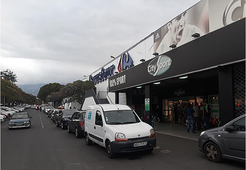 A Carrefour parking lot in Saint-Denis, Reunion