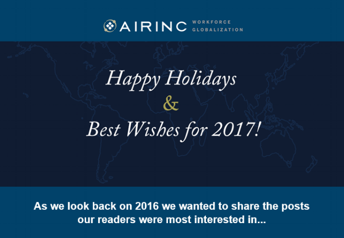 Happy Holidays and Best Wishes for 2017 from your friends at AIRINC! As we look back on 2016, we wanted to share the posts our readers were most interested in viewing