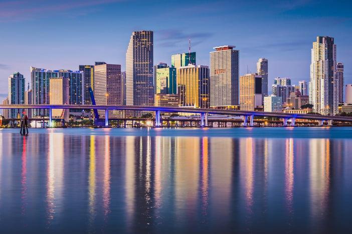 Miami, Florida, USA downtown skyline at dawn.