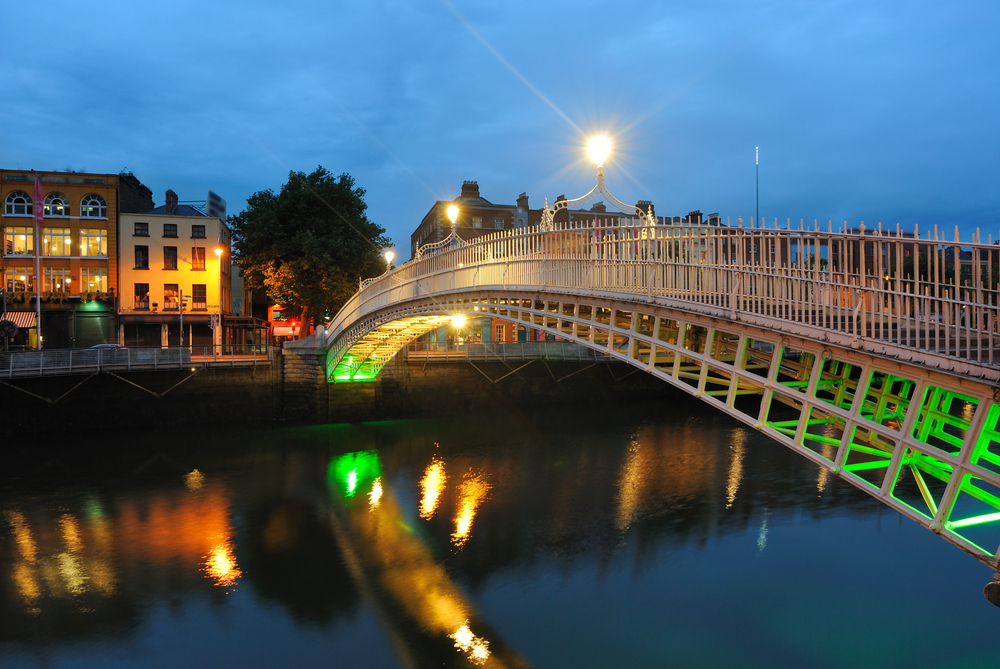 The Hapenny Bridge over the  River Liffey in Dublin, Ireland.