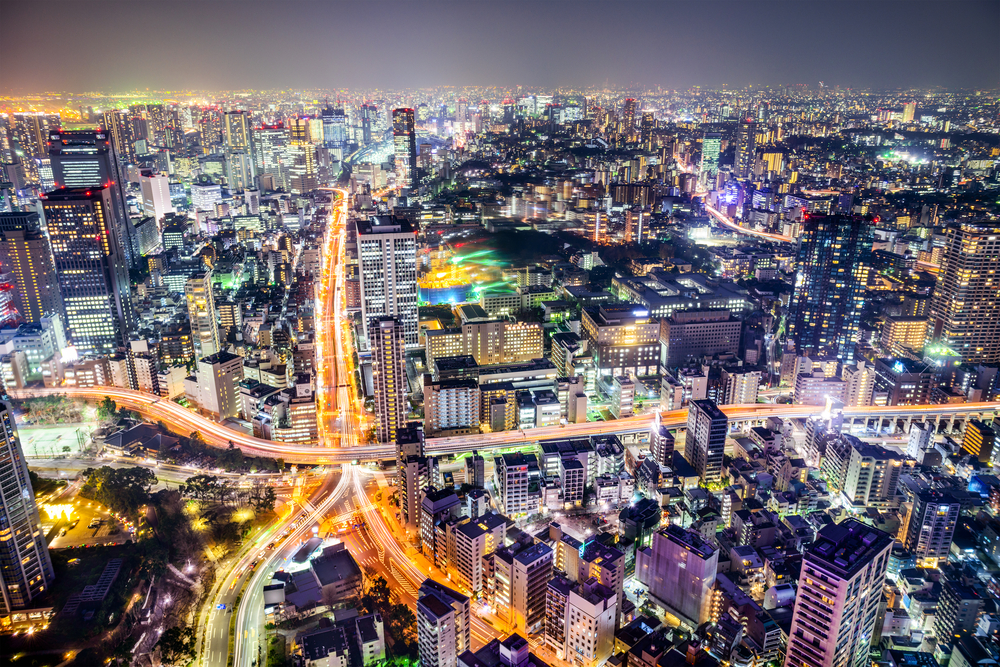 Tokyo, Japan cityscape and highways.