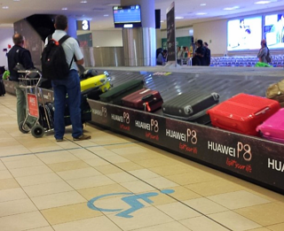 A wheelchair section marked off at baggage claim at Mariscal Sucre International Airport in Quito, onsite in February 2016