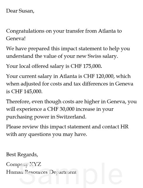 AIRINC sample Personal Salary Impact Statement