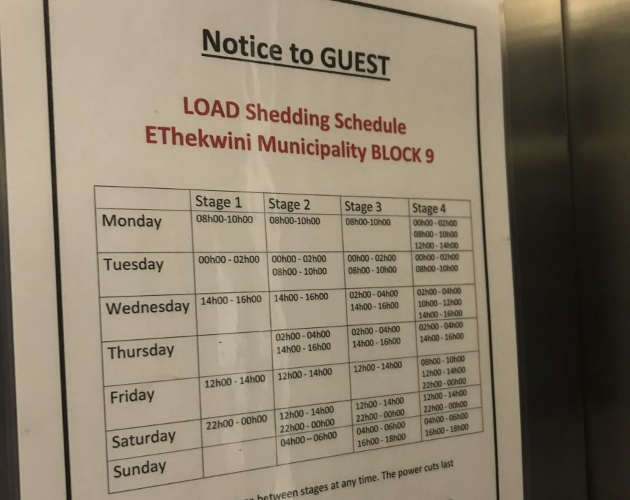 Cape Town South Africa load shedding schedule