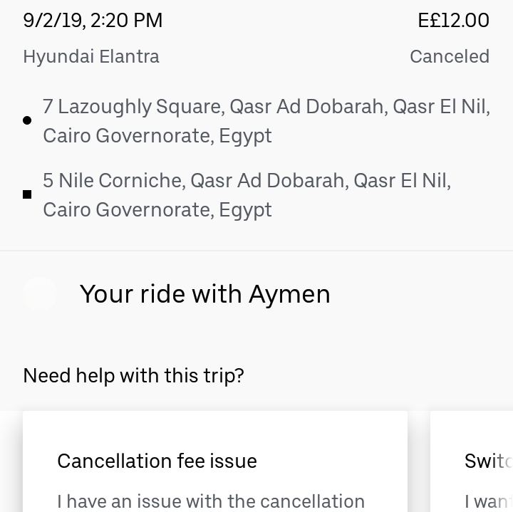 Egypt - Cancellation in App