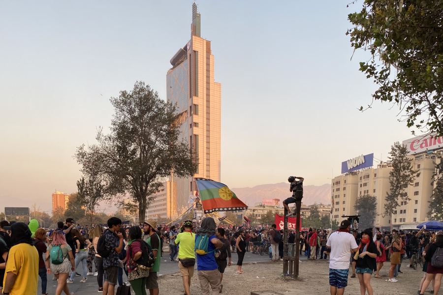 Flag and Protest in Santiago, Chile