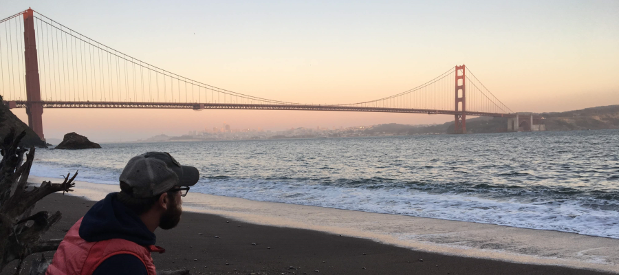 Golden Gate Bridge with AIRINC Director, West Coast, Jordan Blue, looking on