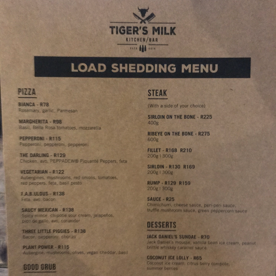Load Shedding Menu