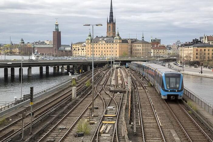 Local Train on  Central Bridge; Stockholm; Sweden