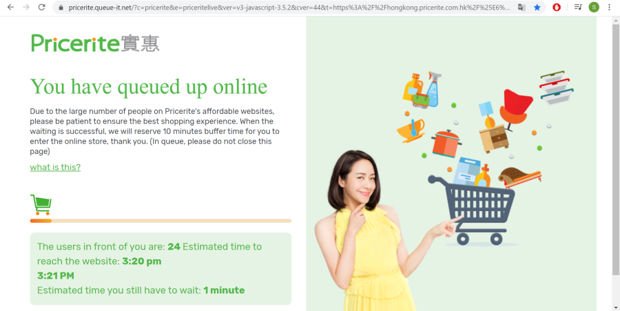 Online lines for grocery stores in Hong Kong