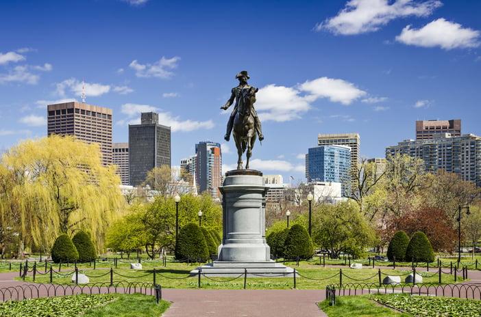 Boston, Massachusetts at the Public Garden in the spring time.