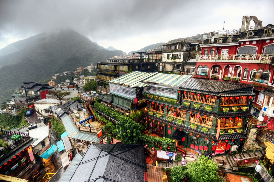 Hillside teahouses in Jiufen, New Taipei, Taiwan