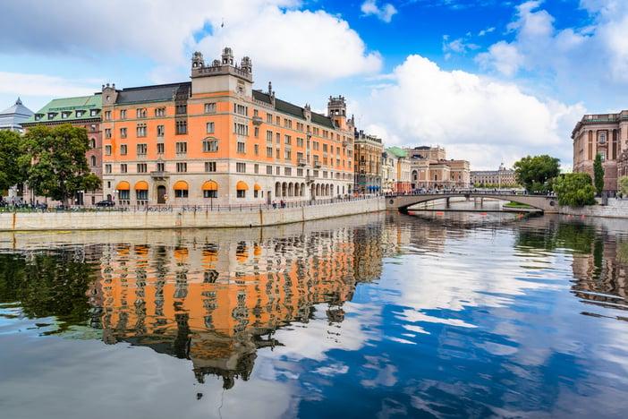 Stockholm, Sweden river cityscape.