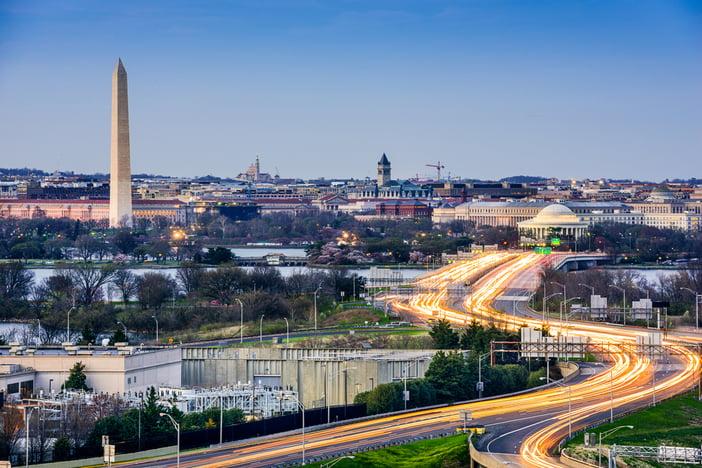 Washington, D.C. cityscape with Washington Monument and Jefferson Memorial.